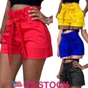 Summer-Hot-Women-039-s-Ladies-Pocket-High-Waist-Casual-Shorts-Bowknot-Party-Pants-US