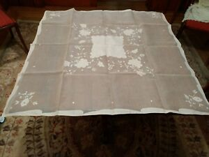 Vintage-Fine-Sheer-Linen-Tablecloth-in-Pink-36-X-36-Inches-with-Two-Napkins