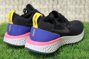 0e069da03b87 Nike Youth Epic React Flyknit OG Black Blue Pink 2 943311 400 5Y GS ...