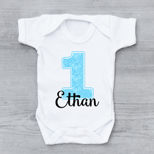 Personalised First 1st Birthday Blue Number 1 One Boys Baby Grow Bodysuit