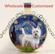 Yorkshire Terrier Cabochon Tibetan silver Glass Chain Pendant Necklace #4626