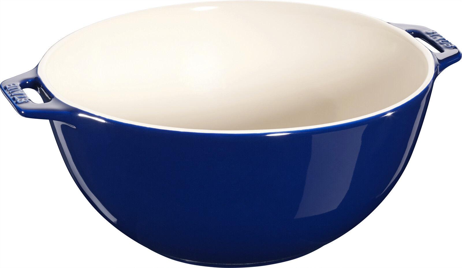 STAUB Céramique Bol de salade Saladier Panier de Fruits Bol rond bleu foncé 25 c