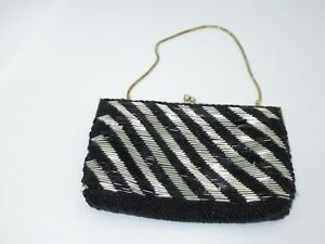 adbf211acc1 Image is loading Charisma-Vintage-Clutch-Bag-Purse-Beaded-Metallic-Black-