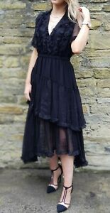 NEW-WITH-TAGS-The-Kooples-Beautiful-Black-Silk-Dress-RRP-290-EURO
