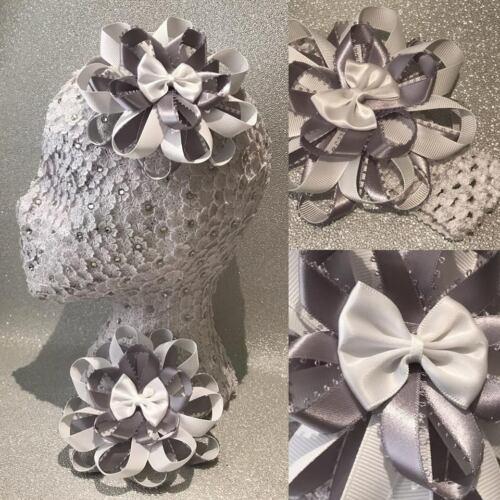 Handmade grey//white school large pretty Harajuku romany hair bows