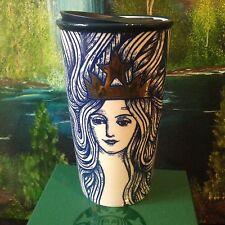 Starbucks Blue Siren Mermaid Gold Crown Double Wall Traveler Tumbler Mug 2016