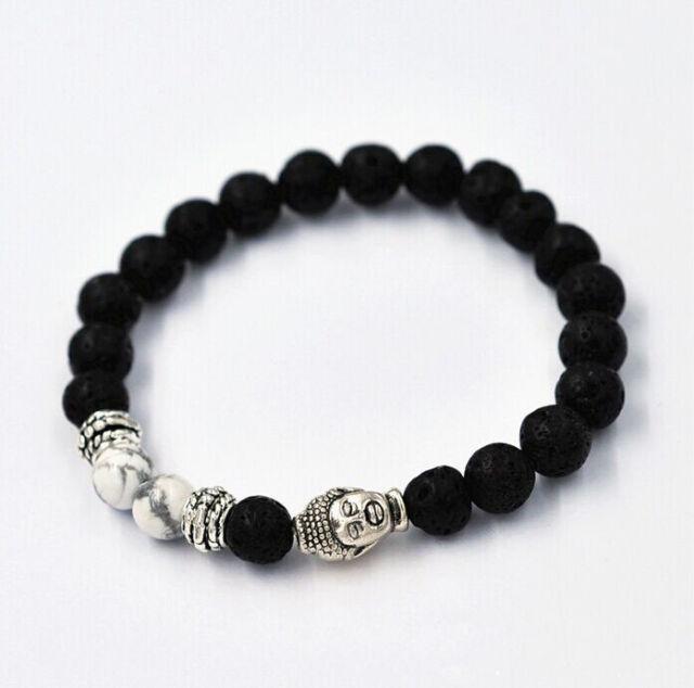New Black Men Lava Rock White Howlite Stone Silver Buddha Head Beaded Bracelet