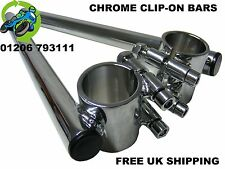 NEW CHROME CLIP ON HANDLEBARS BARS 41MM CAFE RACER PROJECT RACE CLASSIC RACING