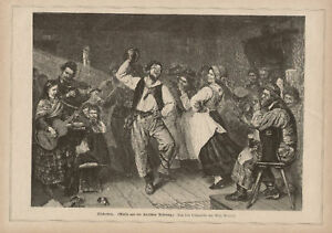 Lively-Dance-with-Musicians-1882-German-Antique-Print