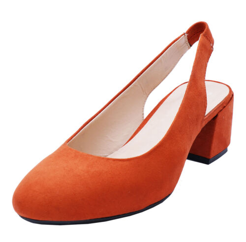 LADIES EXTRA WIDE FIT EEE LOW-HEEL COURT SLINGBACK COMFY WORK SHOES SIZES 4-10