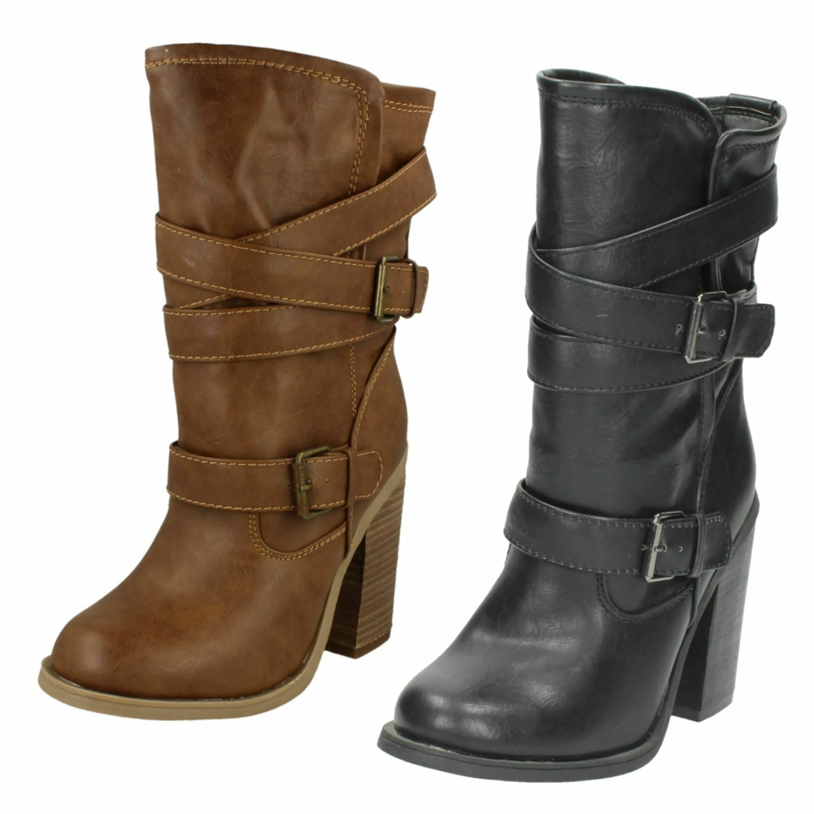 Ladies Spot On Calf Boot F5929 Black or Tan sizes 3-8 *REDUCED*