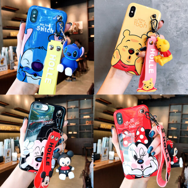Cute stitch minnie pooh Doll Wristband case Cover for iPhone 11 Pro XS Max 7 8+