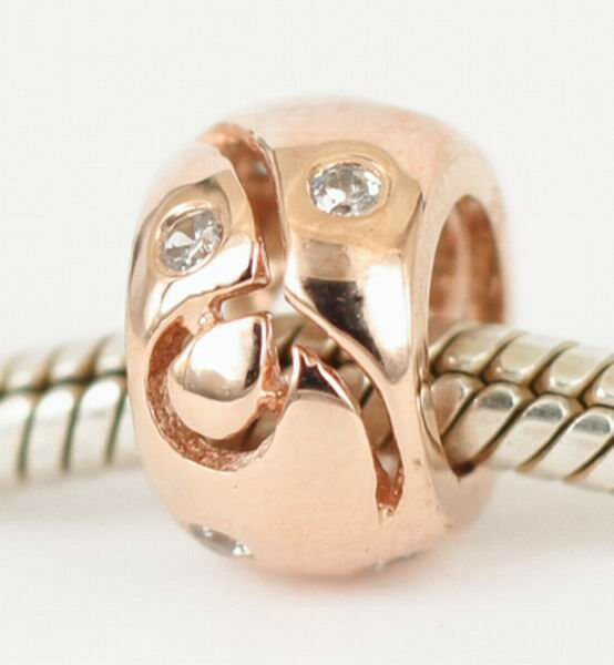 9CT 9K SOLID pink gold Awareness Ribbon Charm Bead w 8pcs CZ For Bracelet AUST