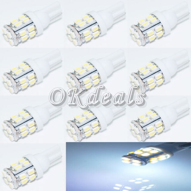 10PCS   T10 W5W 194 168 501 Car 20 SMD 12V LED Inverted Side Wedge light White