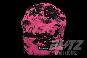 887344fcd9 Image is loading SUPREME-DIGI-CAMO-BEANIE-PINK-FW17-2017-BLACK-