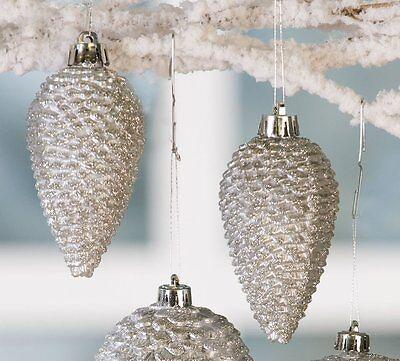 Christbaumkugel Hänger Zapfen Silber mit Glitter 6er Set 8 cm