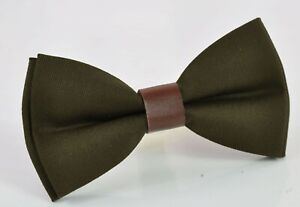 Baby Boy Kids Olive Army Green Cotton Brown Leather Bow tie for Men Teenge