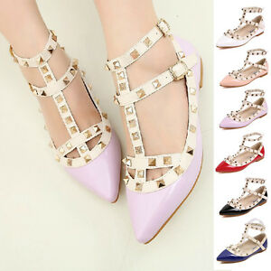Womens-T-strap-Studded-Rivet-Metal-Flats-Pointed-Toe-Shoes-Court-Party-Shoes