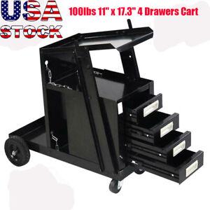 Welding Welder Cart MIG TIG ARC Plasma Cutter Tank Storage W/4 Drawer Cabinet US