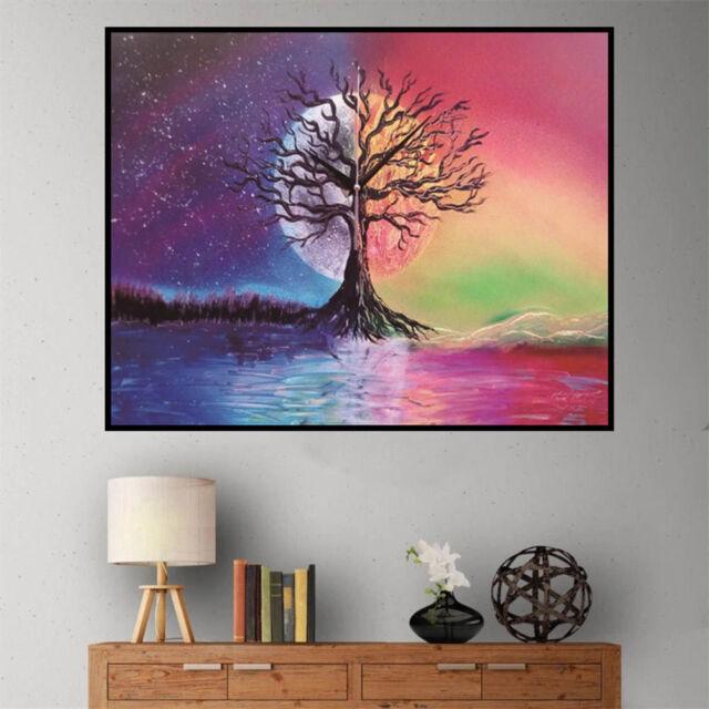 DIY 5D moon tree full Diamond Painting Embroidery Cross Stitch home Decor   Z