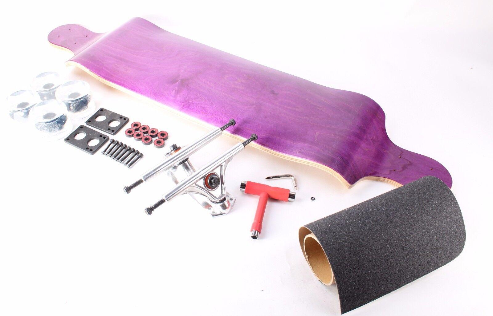 41  Blank Purple Drop Down Longboard with Clear wheels Complete Kit