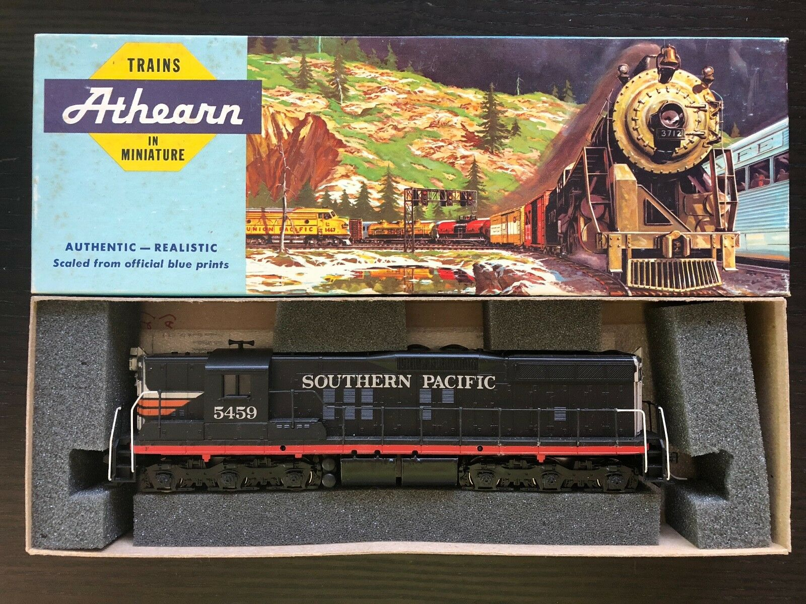 ATHEARN HO PWR DIESEL LOCOMOTIVE ENGINE 3807 SP SOUTHERN PACIFIC SD-9 ROAD  5459
