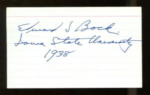 Ed-Bock-Signed-Index-Card-3x5-Autographed-CFHOF-Iowa-State-42035