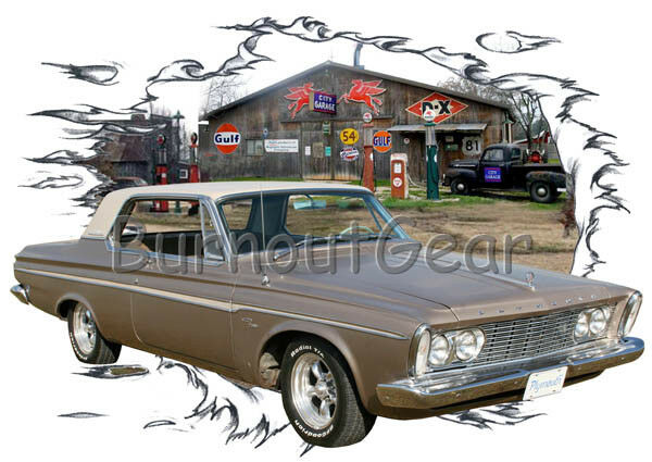 1963 Gold Plymouth Fury Custom Hot Rod Garage T-Shirt 63 Muscle Car Tees