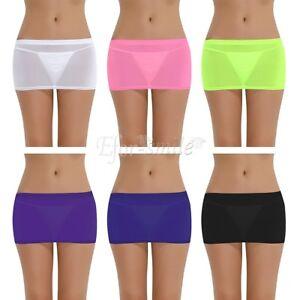 591f37db21 Women Micro Mini Skirt See Through Lingerie Sheer Party Short Dress ...