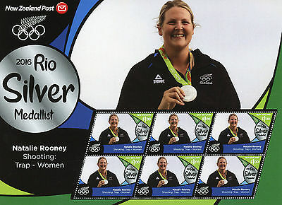 Leuk New Zealand 2016 Mnh Rio Silver Natalie Rooney Shooting 6v M/s Olympics Stamps 100% Origineel
