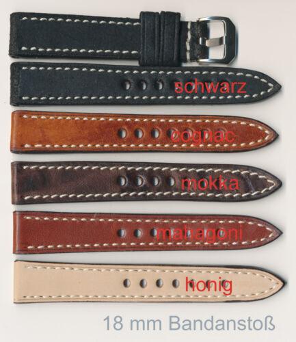 18+20+22+24 mm Echtes Vintage-Leder-Uhrenband cremweiße Naht Angebot