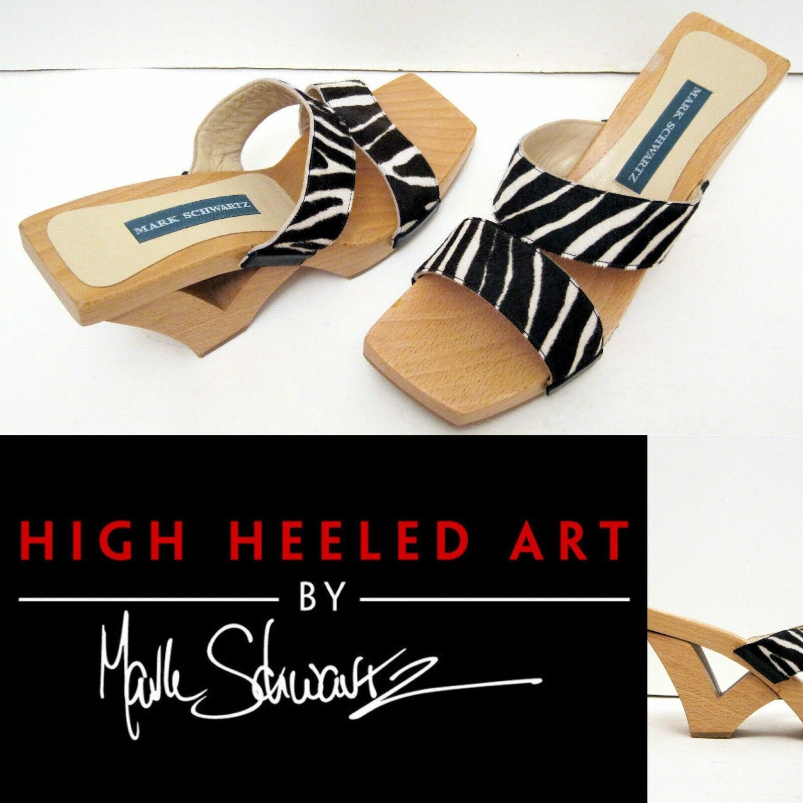 wholesape economico Mark Schwartz donna donna donna Sz 7 Sandal Animal Zebra Pony Wood Platform HIGH HEELED ART  nessun minimo