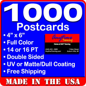 1000 custom full color 4x6 postcards w uv glossy real printing