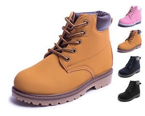 Kids-Casual-Lace-Up-Ankle-Work-Boots-Boys-Girls-Shoes-Brown-Black-Navy-Hawkwell