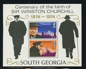 South Georgia Scott #40a MNH S/S SIR Winston Churchill Birth Centenary CV$6+