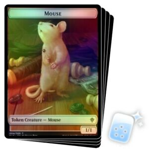 RANDOM FOIL MOUSE TOKEN X4 Throne Of Eldraine ELD MTG 4//20 // FOOD TOKEN