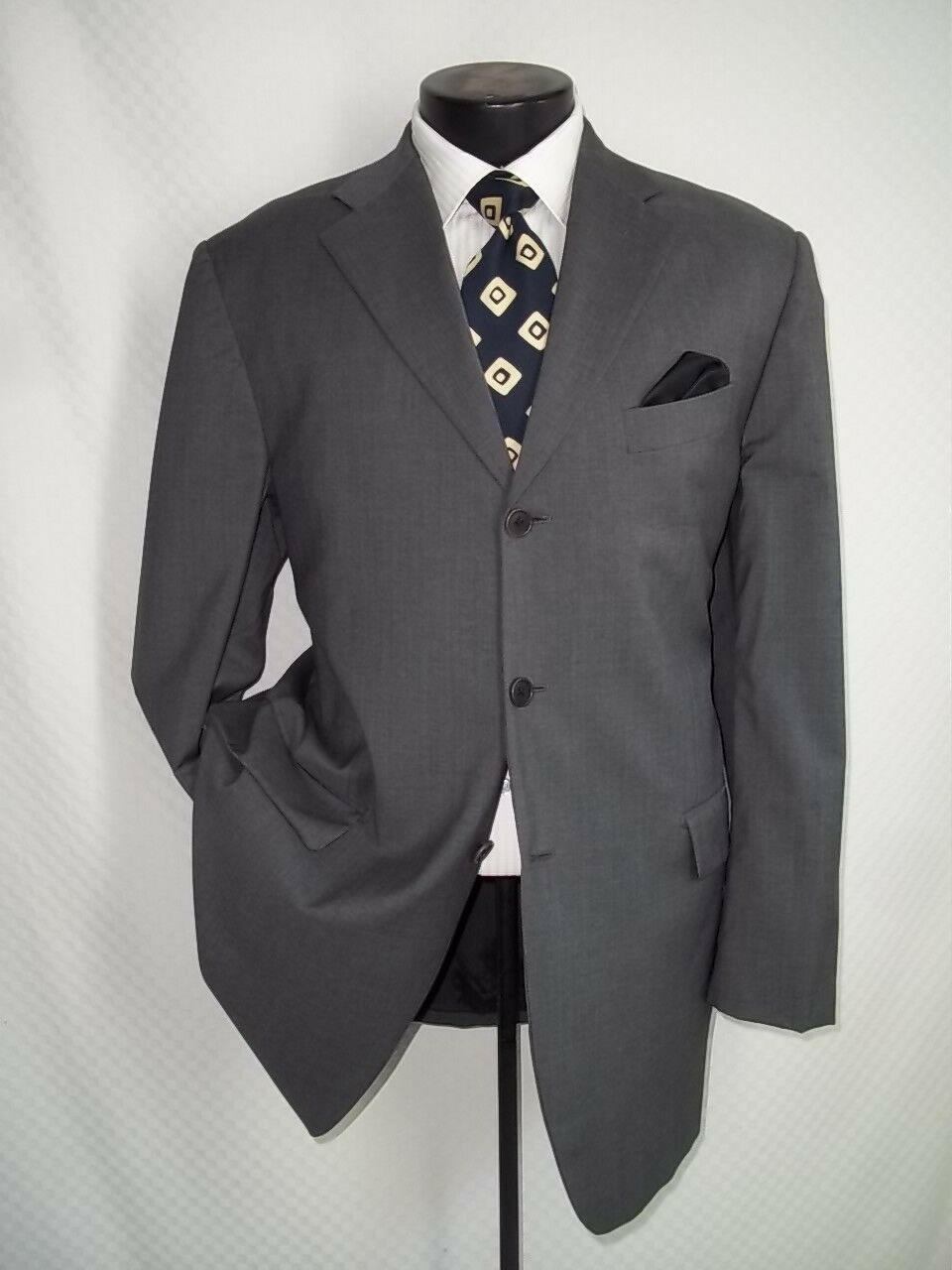 Vestimenta Solid grau 3 Buttons Side Vents Wool Suit 40 R Pants W34