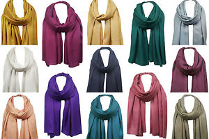 Xl Pashmina Einfarbiger Schal Umhängetuch Warm Weich Ohne Quasten 21 Farben