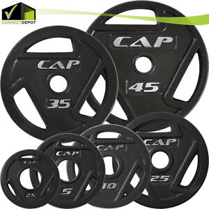 OLYMPIC-GRIP-PLATE-CAP-Barbell-2-039-039-Solid-Cast-Iron-SINGLE-Weights-2-5-45-Lbs