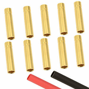 10 x RC 4mm Female Gold Bullet Connector + Heat Shrink Lipo Battery ESC Motor