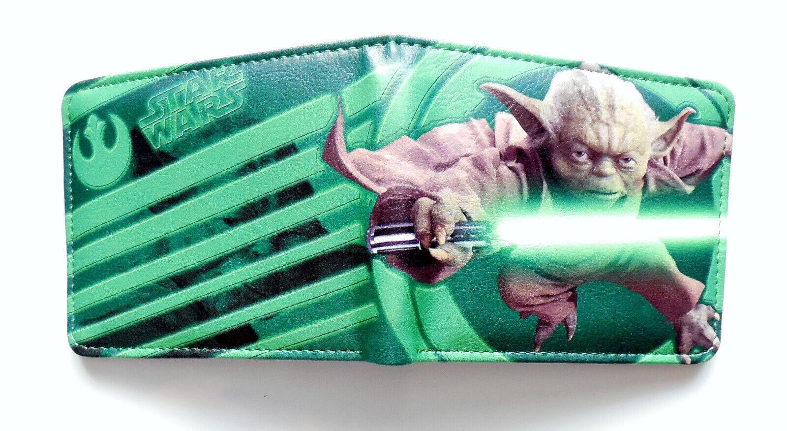 Yoda LightSaber Star Wars Wallet with id window Credit card slots zipped pocket