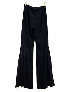 Image is loading ZARA-BLACK-FLARED-FLOWING-TROUSERS-SIZE-XS-REF- 3100699be360