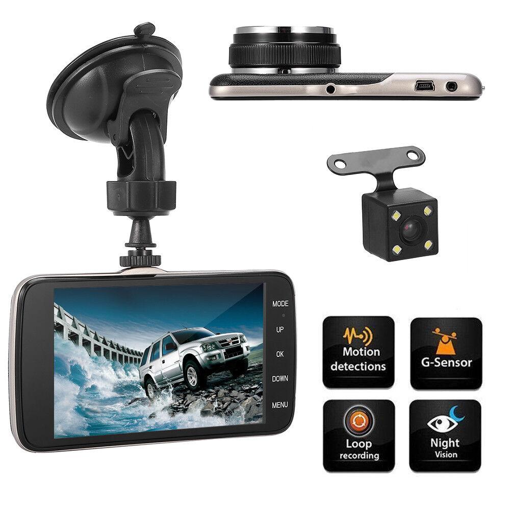 "s-l1600 Full HD 1080P 4"" Dual Lens Car DVR Dash Cam Video Recorder Night Vision G-Sensor"
