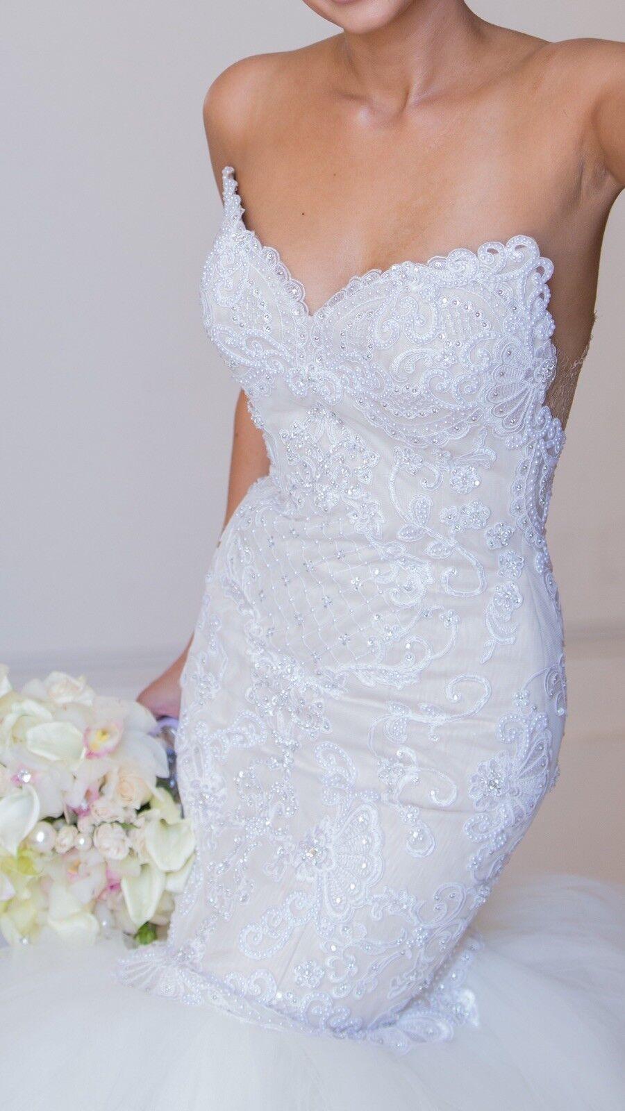 Custom lace crystal couture designer Wedding Dress - image 7