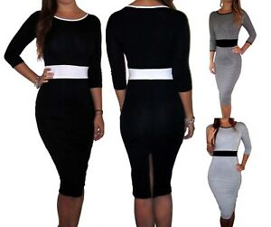 Peaches-amp-Cream-Black-Office-Work-Smart-Midi-Dress-Formal-Size-UK-8-10-12-14-16-18