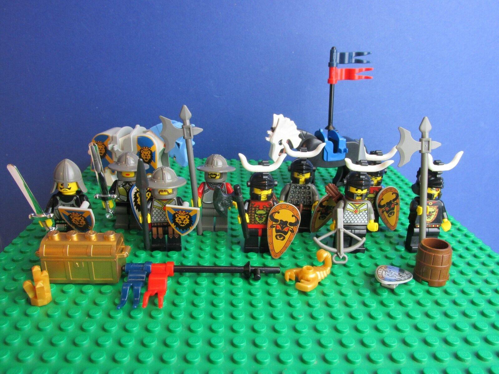Genuine lego castillo reinos CABALLEROS León Cedric Bull MiniFigura Set Caballos 60J