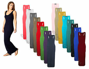 WOMENS-LADIES-JERSEY-MUSCLE-RACER-BACK-MAXI-LONG-VEST-SUMMER-DRESS-SIZES-8-26