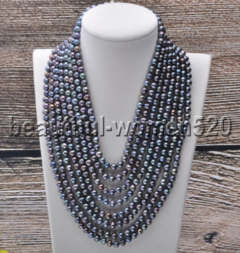 X0011 8Strds 7mm Round Freshwater Pearl Necklace Magnet 20inch