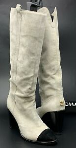 Authentic-CHANEL-Coco-Mark-Long-Boots-37-US-7-Suede-Gray-Gold-Zipper-Rank-AB