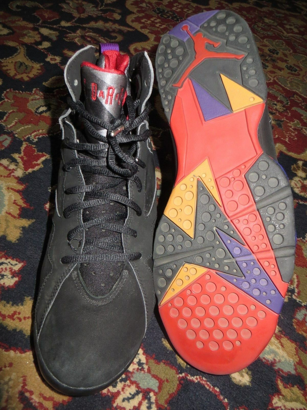 2002 Nike Air Jordan 7 Retro Size 12 Raptor Black Red Purple Bred OG 304775-006